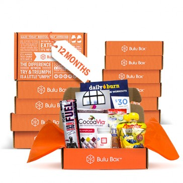 Get the gift of of health! For one full year, you'll receive a Bulu Box filled with 4 to 5 premium, curated samples from top brands. Look forward to a new mix of products for both women and men, including vitamins, weight loss, sports nutrition,
